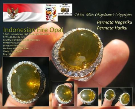Ciri Khas Indonesian Fire Opal Greenish Yellow Colour